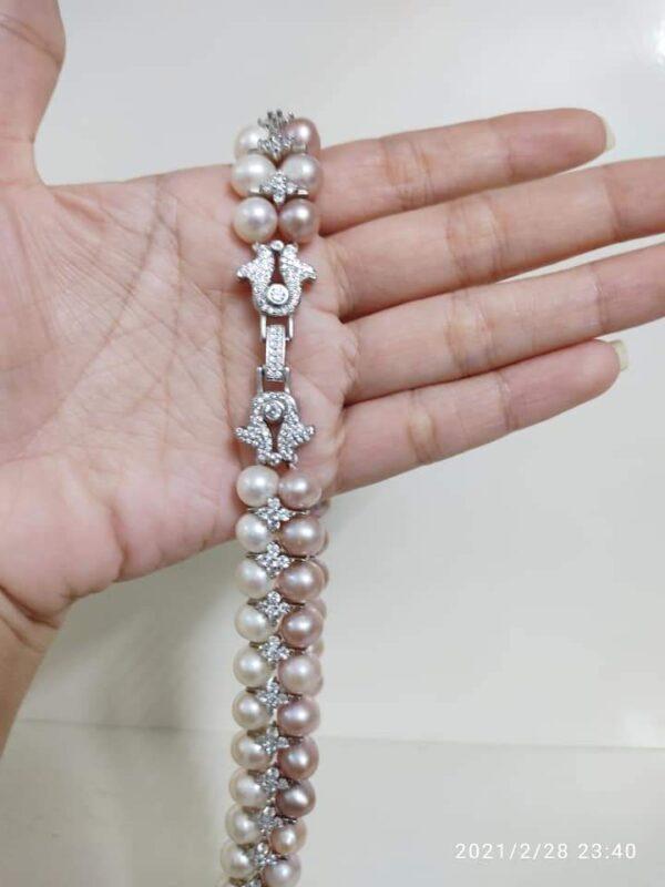 Bộ ngọc trai đôi khóa bạc #ELMST3128