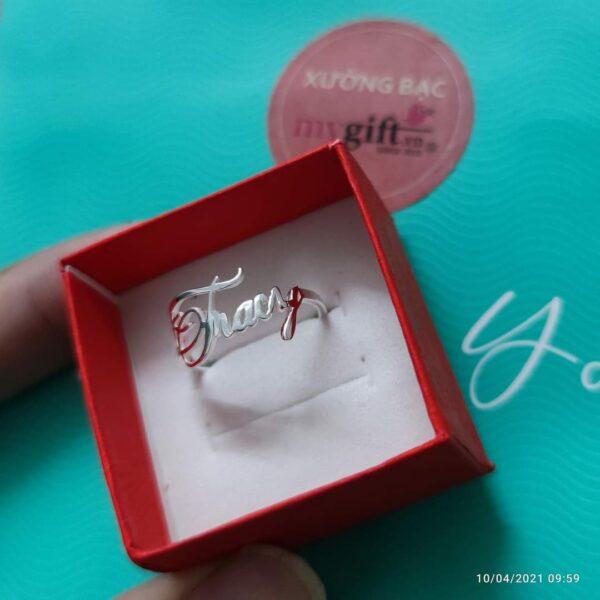 Nhẫn bạc khắc chữ theo tên riêng #CJGLF4325