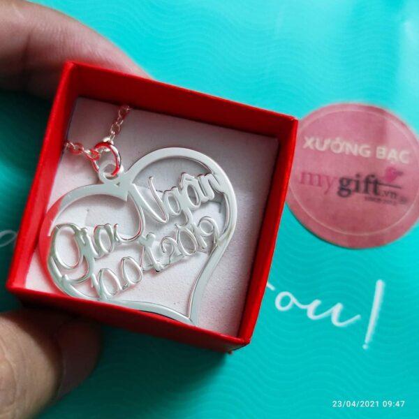 Dây chuyền bạc trái tim khắc tên ngày sinh