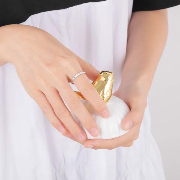 Nhẫn bạc khắc tên gắn đá tháng sinh