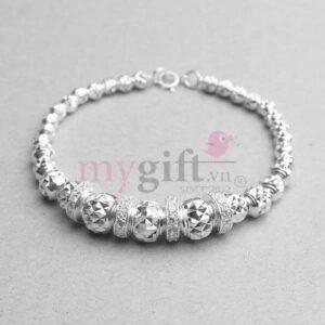 Lắc tay bạc phối hạt bi tròn họa tiết kim cương