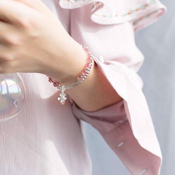 Bộ lắc tay bạc thạch anh dâu hồng