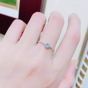 Nhẫn bạc đơn giản gắn đá tháng sinh