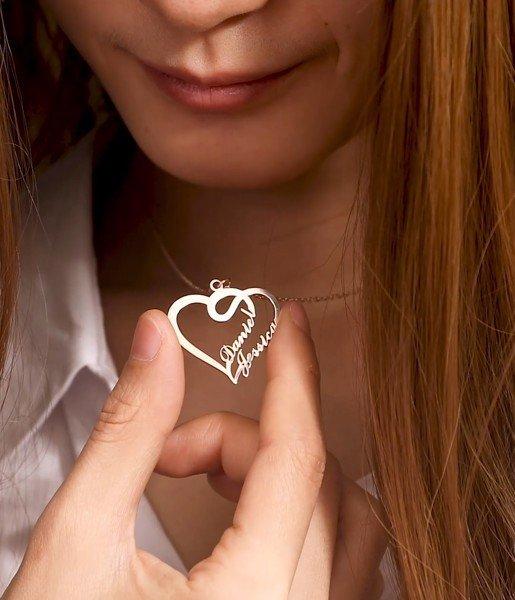 Dây chuyền bạc khắc tên Full Heart